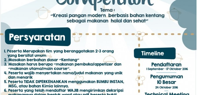 Assalamualaikum   Alhamdulillah, akhirnya salah satu rangkaian acara Brawijaya Halal Food Fair 2016 yang ditunggu akhirnya telah tiba  Untuk kalian yang punya hobi berkreasi dengan bahan-bahan makanan, yang suka bereksperimen dengan spatula, pisau, wajan dan sebagainya🔪🍴🍳 Ada kesempatan emas nih, kalian bisa menyalurkan hobi dan bakat kalian pada ajang berkreasi di BHFF   🍮🔪[COOKING COMPETITION]🍩🍴  Dengan Tema: Kreasi Bahan Makan Modern Berbasis Bahan Kentang Sebagai Makanan Halal dan Sehat  Jadi tunggu apalagi,😎. segera daftarkan tim kalian pada ajang berkreasi ini😃.  Ketentuan dan persyaratan dapat dilihat di poster.  Untuk informasi lebih lanjut: website: bhff.tp.ub.ac.id  Contact person: 085704097933 (Adamsyah)  #MasakYuk #YakaliNggaKuy #MakananHalalItuSehat #CookingCompetition #BHFF2016